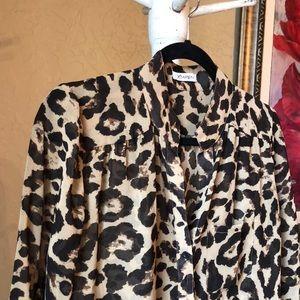 Semi sheer leopard print blouse